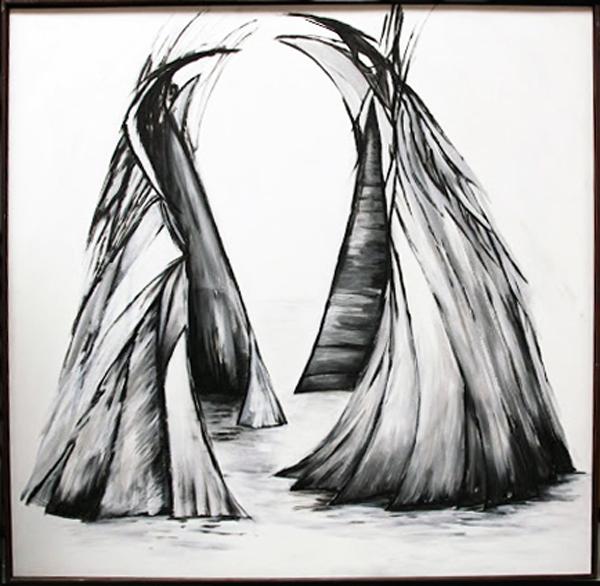Annette Sieger schilderij Ruimte voor twee Acryl 120x120